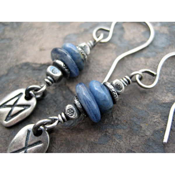 Custom Rune Earrings Blue Kyanite Gemstone