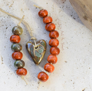 Rusty Olive Handmade Ceramic Beads. Set 21728