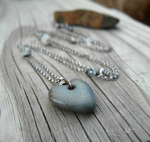 Blue Heart Necklace Long Silver Stone Look Ceramic