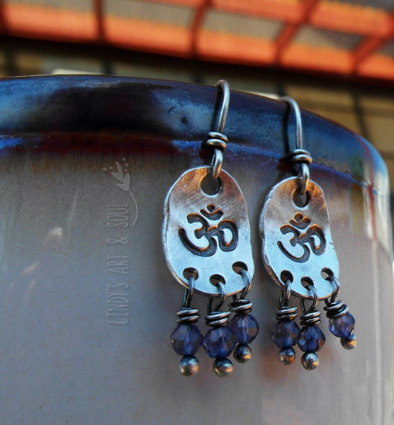 Silver Nugget Ohm Earrings Blue Iolite Gemstone