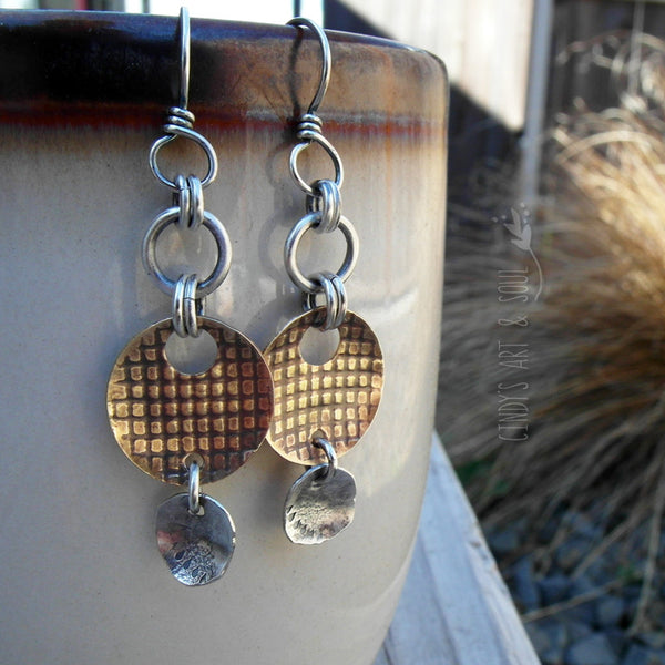 Silver + Brass Earrings Hammered Embossed