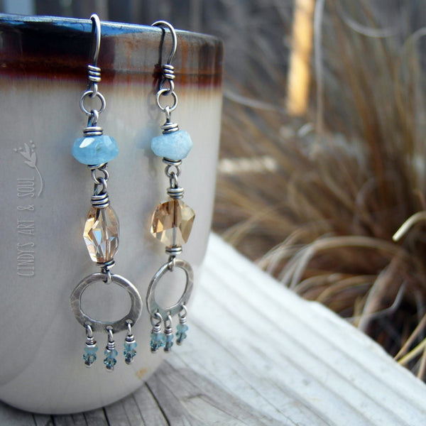 Pale Blue Aquamarine Gemstone Earrings Long Chandelier Hoops