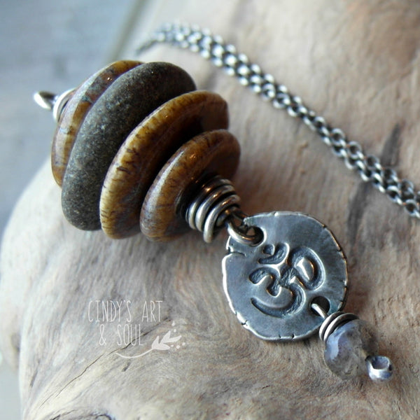 Beach Stones Necklace Zen Stack + Om Nugget
