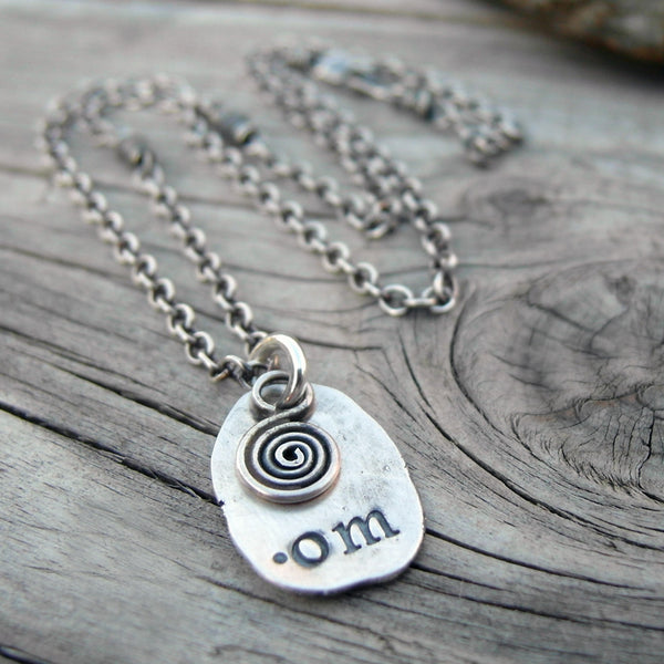 Silver Nugget Charm Necklace. Om Necklace. Fine Silver Yoga Jewelry. 11175