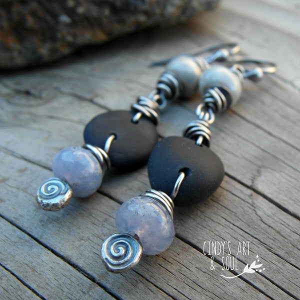 Gray Black Periwinkle Stone Earrings