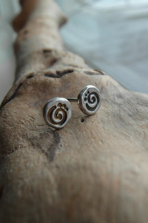 Pure Silver Post Stud earrings with spiral images. Handmade minimalist jewelry. Sterling Silver.