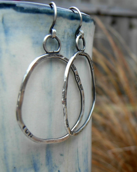Fine Silver Hoops. Pure Silver Hoop Earrings. 11175