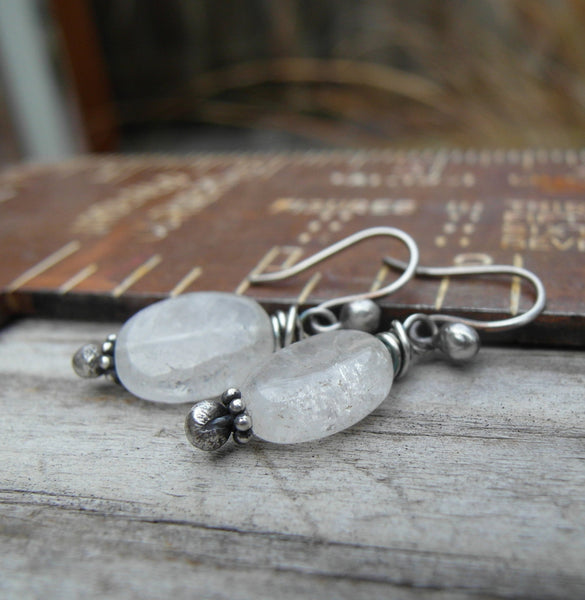 Rock Crystal Earings. White Gemstone Drops. Sterling Silver. 11163