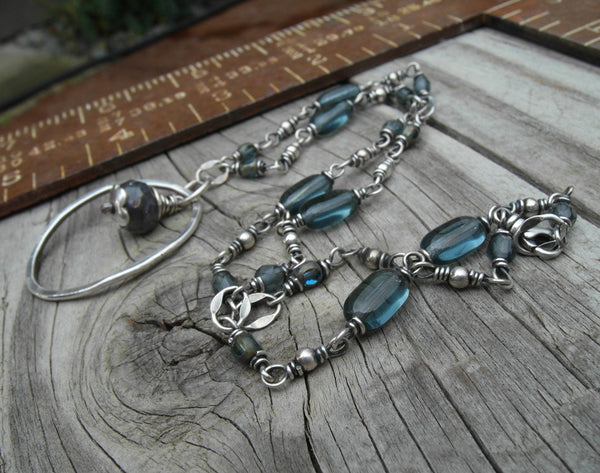 Silver Ring Necklace. Blue Beaded Silver Chain. 111516