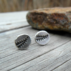 Silver Nugget Post Earrings. Leafy Fern Nature Jewelry. 11179