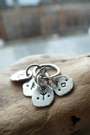 Letter Charm Pendants. Word Jewelry. Personalized Silver Nugget Charms.