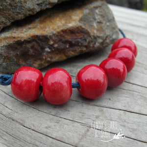 Ceramic Spacer Beads Round Red Beads