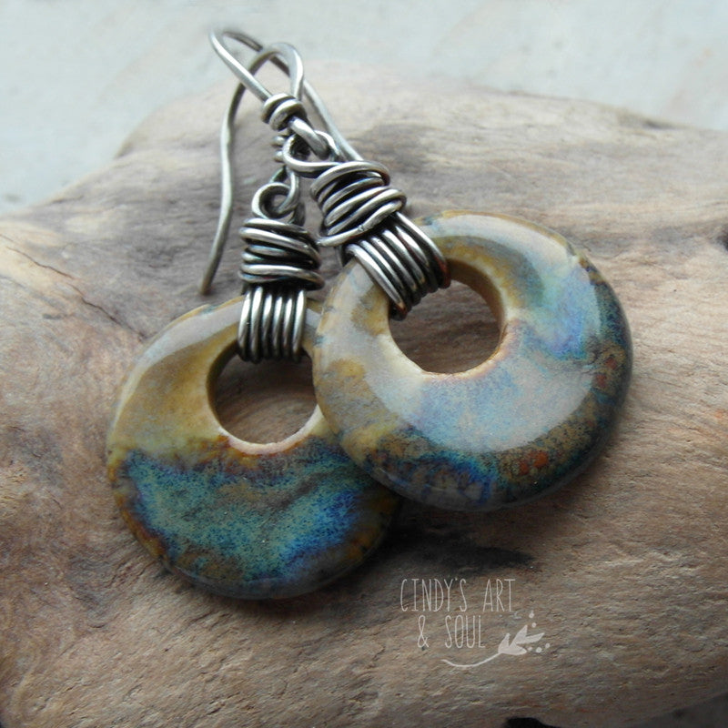 Ceramic Circle Earrings Handcrafted Fine Silver