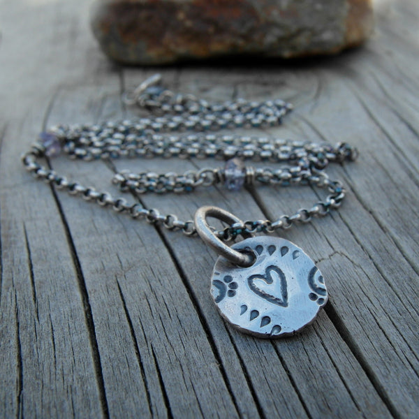 Silver Nugget Charm Necklace. Blue Gemstone. Heart. Cindy's Art & Soul 4180