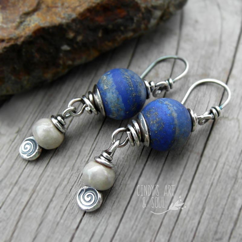Lapis Lazuli Gemstone Earrings Blue Matte Rustic