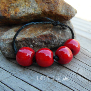 Apple Red Ceramic Beads, handmade round bead set