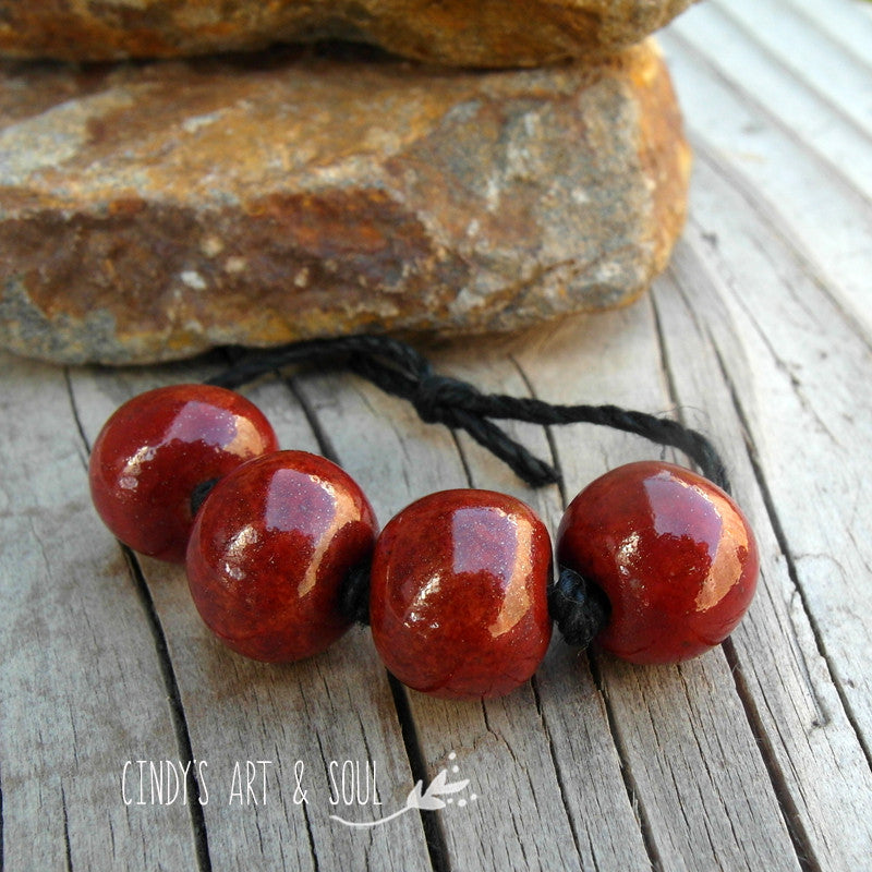 Dark Red Handmade Round Ceramic Beads
