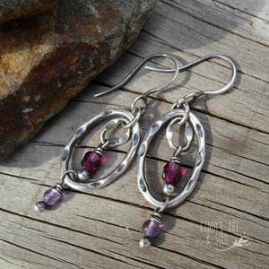 Amethyst Earrings Silver Studded Plum Beaded Hoops 6121
