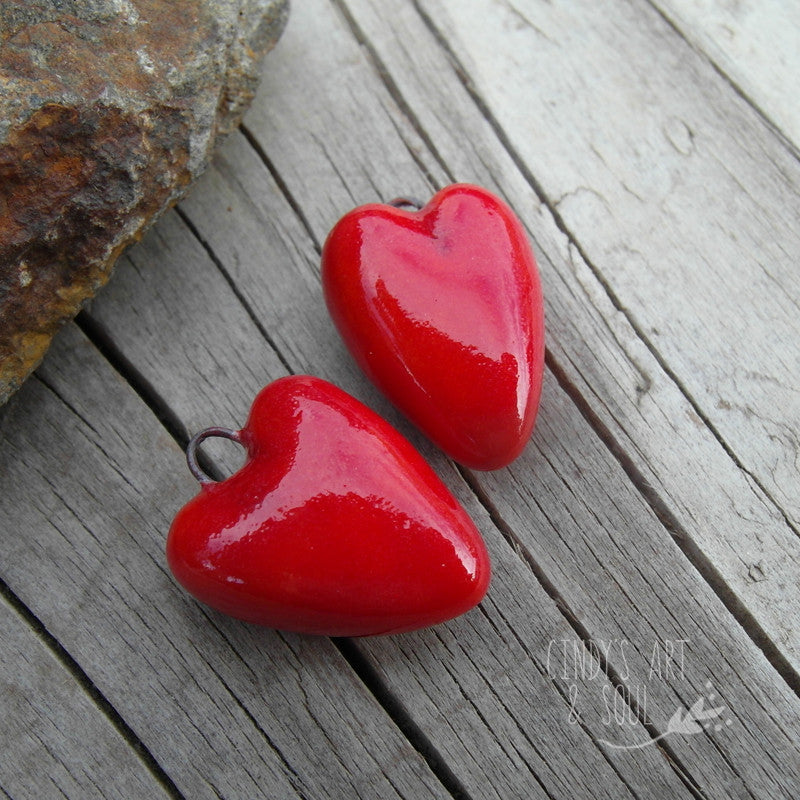Heart Beads Handcrafted Glazed Ceramic Hearts