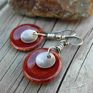 Oxblood Red Color Spot Earrings Handmade Ceramic