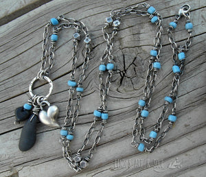 Black Beach Stone Hearts Necklace X-Long