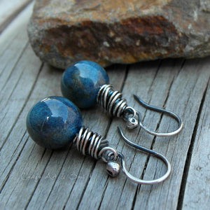 Ceramic Ball Earrings Handmade Silver Ocean Blue