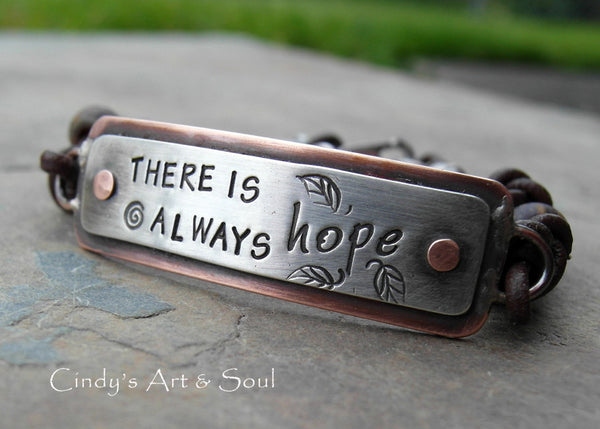 Personalized Metal and Leather Bracelet. Inspirational Jewelry.