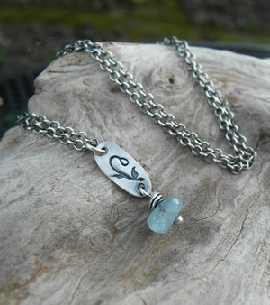 Blue Aquamarine Gemstone Necklace. 999 Fine Silver Flower Charm. Cindys Art and Soul Jewelry.