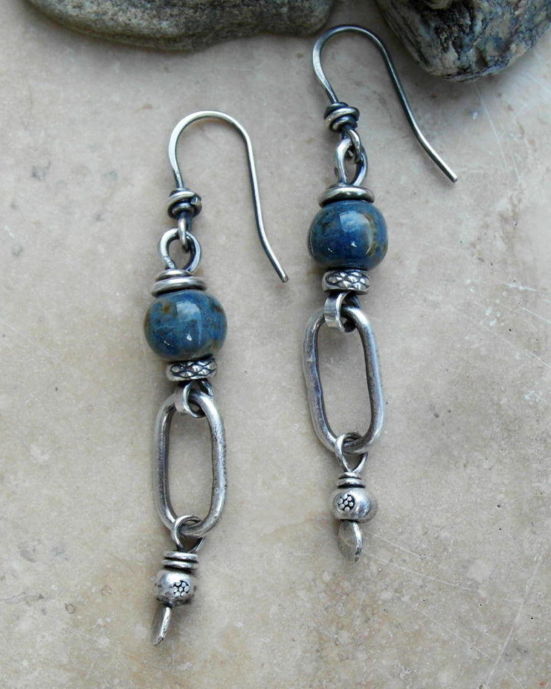 Rusty Blue Denim. Porcelain Beaded Hoop earrings. Fine Silver Designer Jewelry. By Cindy's Art & Soul.