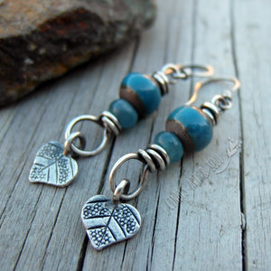 Heart Home Blue Ceramic Earrings in Silver