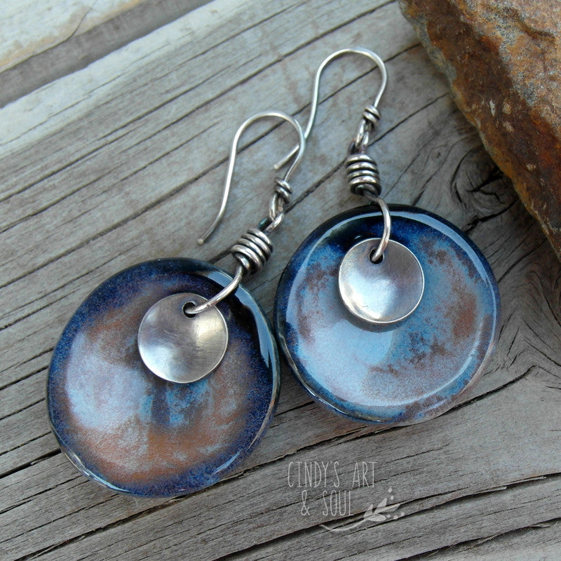 Blue Twilight Ceramic Earrings Necklace Set