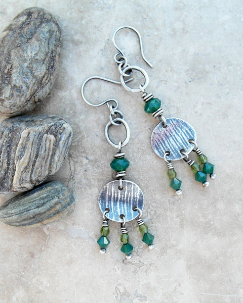 Silver Beaded Chandelier Earrings Emerald Green