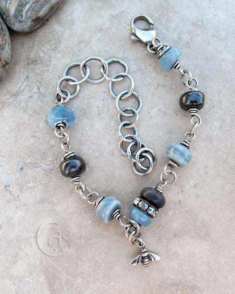 Blue Aquamarine Honey Bee Bracelet. Gemstones and Porcelain, all Silver Jewelry. 45181