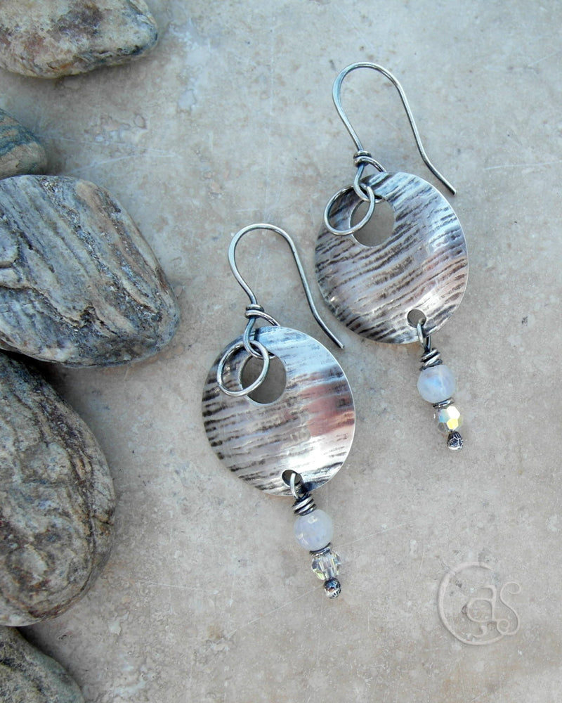 Silver Moon Earrings. Moonstone Gemstone Jewelry with Swarovski Sparkle. 44181