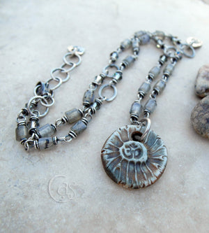 Gray Gemstone Om Necklace. Handcrafted Sterling Silver Jewelry.