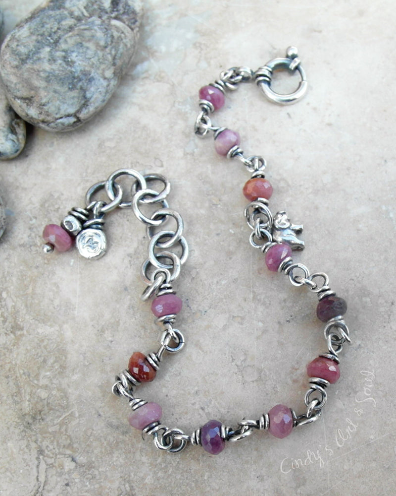 Beaded Ruby Bracelet. Stacking Bracelet. Red Gemstone Bracelet. Cindy's Art & Soul Jewelry.