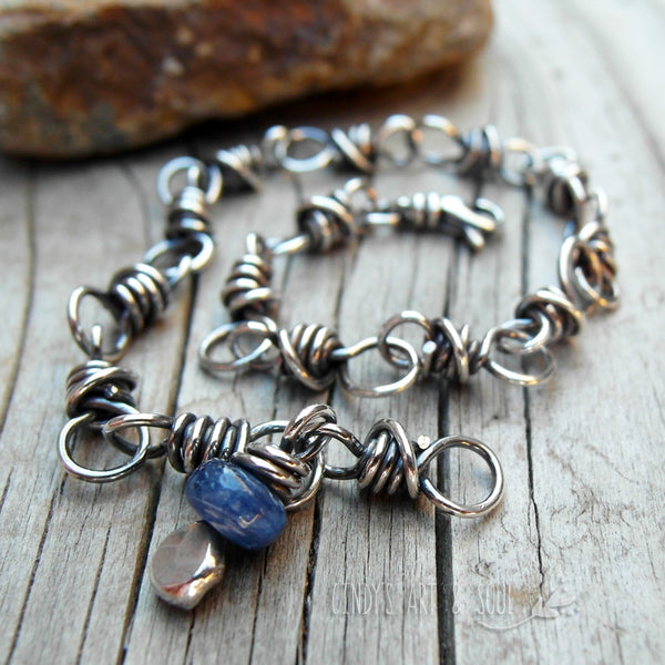 Blue Kyanite Gemstone Chain Bracelet Handmade