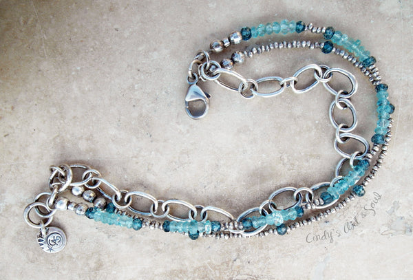 SIlver Stacking Bracelet. Liquid Blue Silver Beaded Triple Strand Bracelet. Hill Tribe Silver. 83188