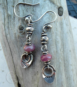 Natural Ruby Gemstone Earrings with Fine Silver Nugget Charms. Handcrafted by Cindy's Art & Soul Jewelry