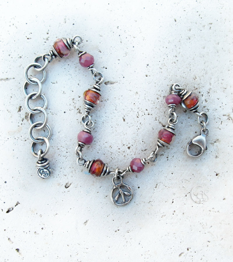 Ruby Pink Crush Bracelet. Inspire Peace. Rubies. Lampwork Glass. Fine Silver Chain. 83195