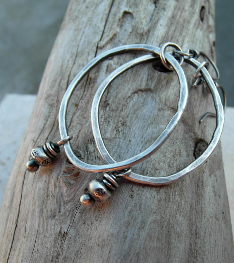 Hoop Earings with Hill Tribe Silver. Fine Silver Hoops. Designer Jewelry.