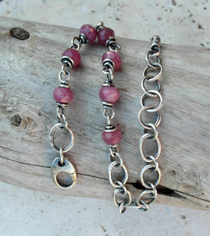 Pink Ruby Gemstone Bracelet. Fine Silver Handcrafted Chain. 83194 Cindy's Art & Soul Jewelry.