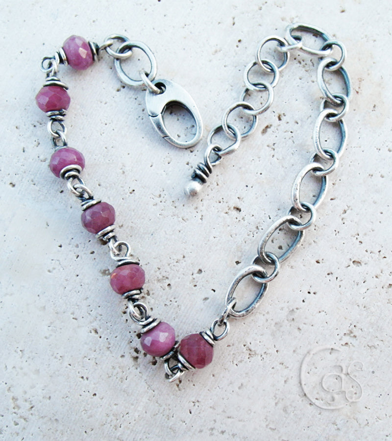 Pink Ruby Gemstone Bracelet. Fine Silver Handcrafted Chain.