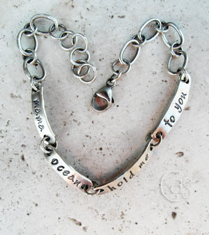 Mama ocean hold me to you. Fine Silver Bracelet. Designer Jewelry.