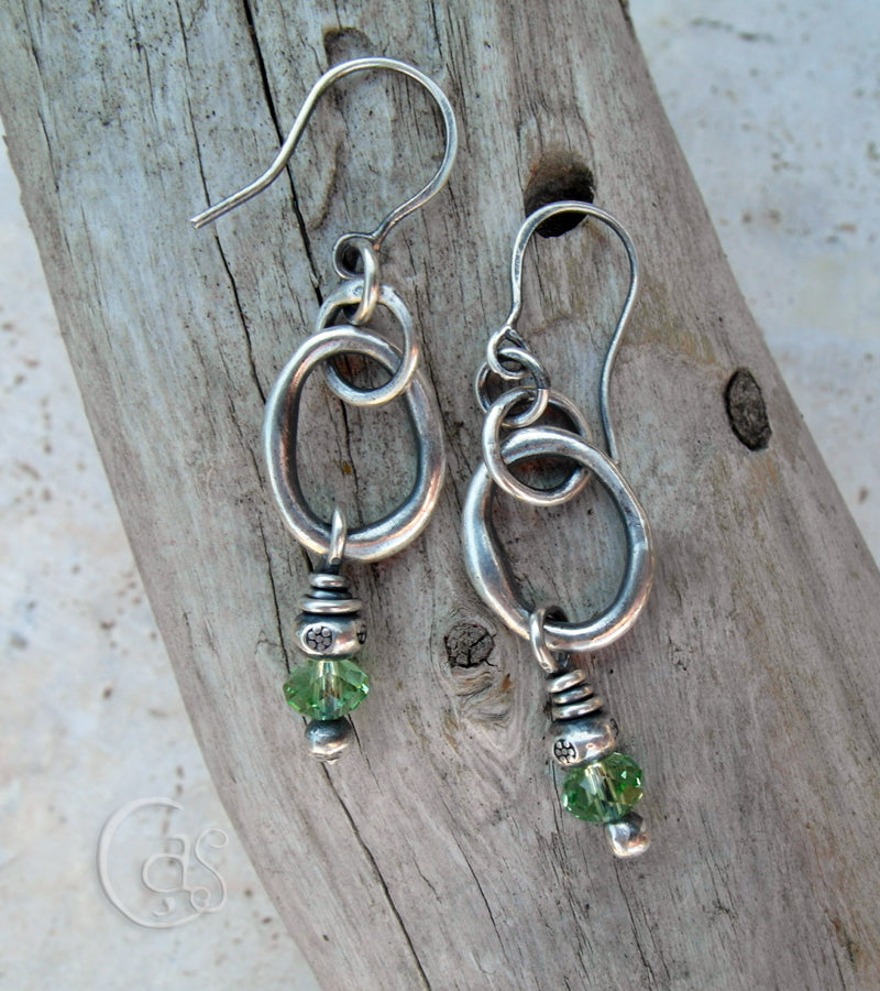 Pure Silver Hoops. Orgainic Hoop Earrings w Peridot Crystals, Hill Tribe Silver. 83186