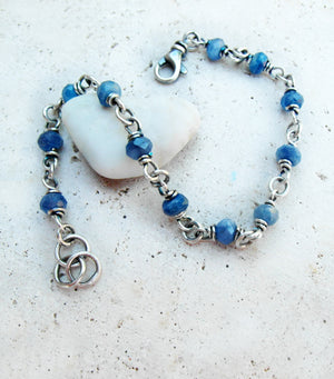 Blue Gemstone Bracelet. Designer Jewelry in Fine Silver. Cindy's Art & Soul Jewelry.