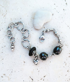 Black Stone and Porcelain handmade Silver Chain Bracelet