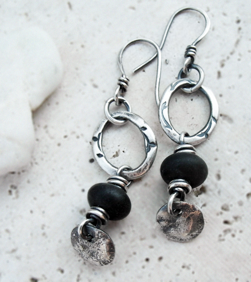 Black Stone Earrings with Silver Hoops. Black Amazonite Stone. 83199