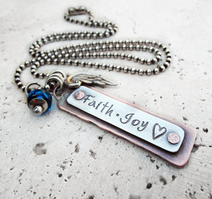 Faith. Love. Joy. Inspirational Necklace. Custom Charm Jewelry. Sterling Silver.