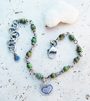 Silver Nugget Heart Bracelet with Green Jasper Gemstones. Boho Designer Jewelry.